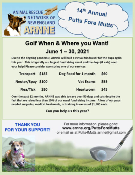 Putts Fore Mutts 2021 Pelham NH Golfing Fundraiser